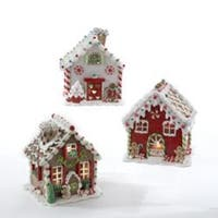 "Set of 3 White, Red, and Green LED Lighted Gingerbread House Tabletop Christmas Decorations 6"" - RED"