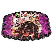 Skulls & Panther Leather Belt Buckle