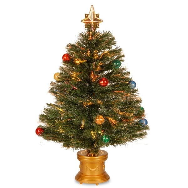 "32"" Pre-lit Potted Fiber Optic Artificial Christmas Tree with Firework Ball Ornaments - Multi Lights"