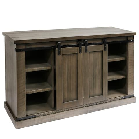 StyleCraft Peachtree Wood Sliding Barn Door Media Console with Removable Shelves
