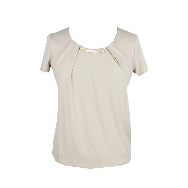 ea08bb4499a6cb Shop Jm Collection Petite Beige Short-Sleeve Chain-Neck Top PP ...