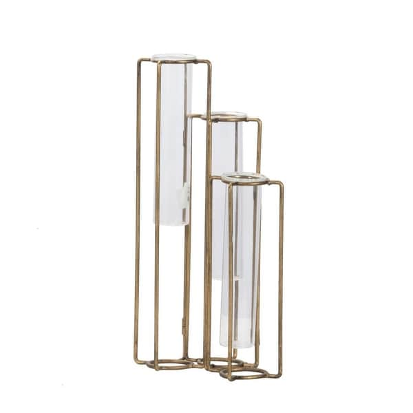 "15.25"" Gold and Clear Pedestal Beaker Oversized Vase - N/A"