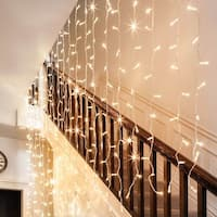 18W 9.8ft x 9.8ft LED Window Curtain Light, 8 Modes Icicles Starry Extendable Christmas String Light, 300 LEDs