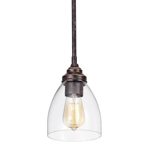 Antique Copper 1-Light Bell Shaped Clear Glass Mini Pendant - Antique Copper