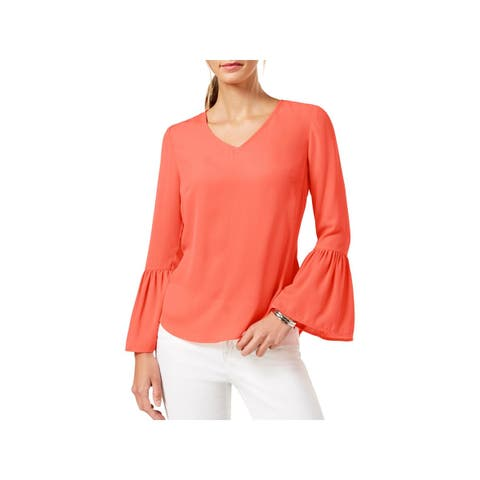 NY Collection Womens Petites Pullover Top Sheer Bell Sleeves