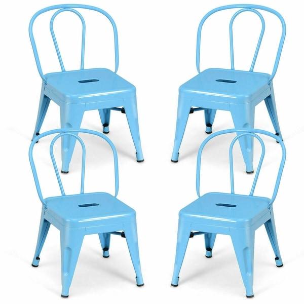 Gymax Set of 4 Stackable Stool Kids Children Lightweight Stool Metal Chairs Blue