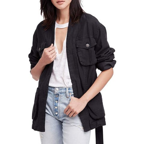 Free People Black Women's Size Small S Belted Utility Jacket