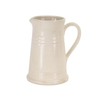 Set of 2 Rustic Off White Decorative Ceramic Pitcher 9""