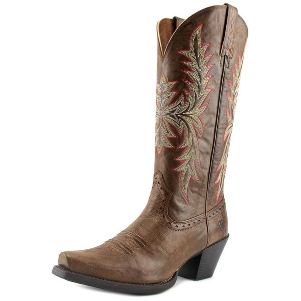 Ariat Round Up Maddox Women Square Toe Leather Brown Western Boot