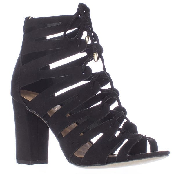 madden girl Banerrr Strappy Caged Lace Up Sandals, Black
