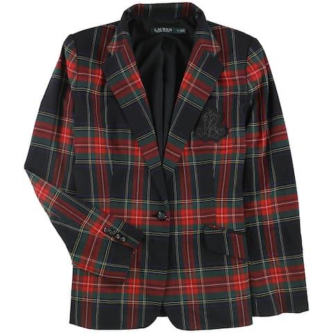 Ralph Lauren Womens Plaid One Button Blazer Jacket blackmulti 14