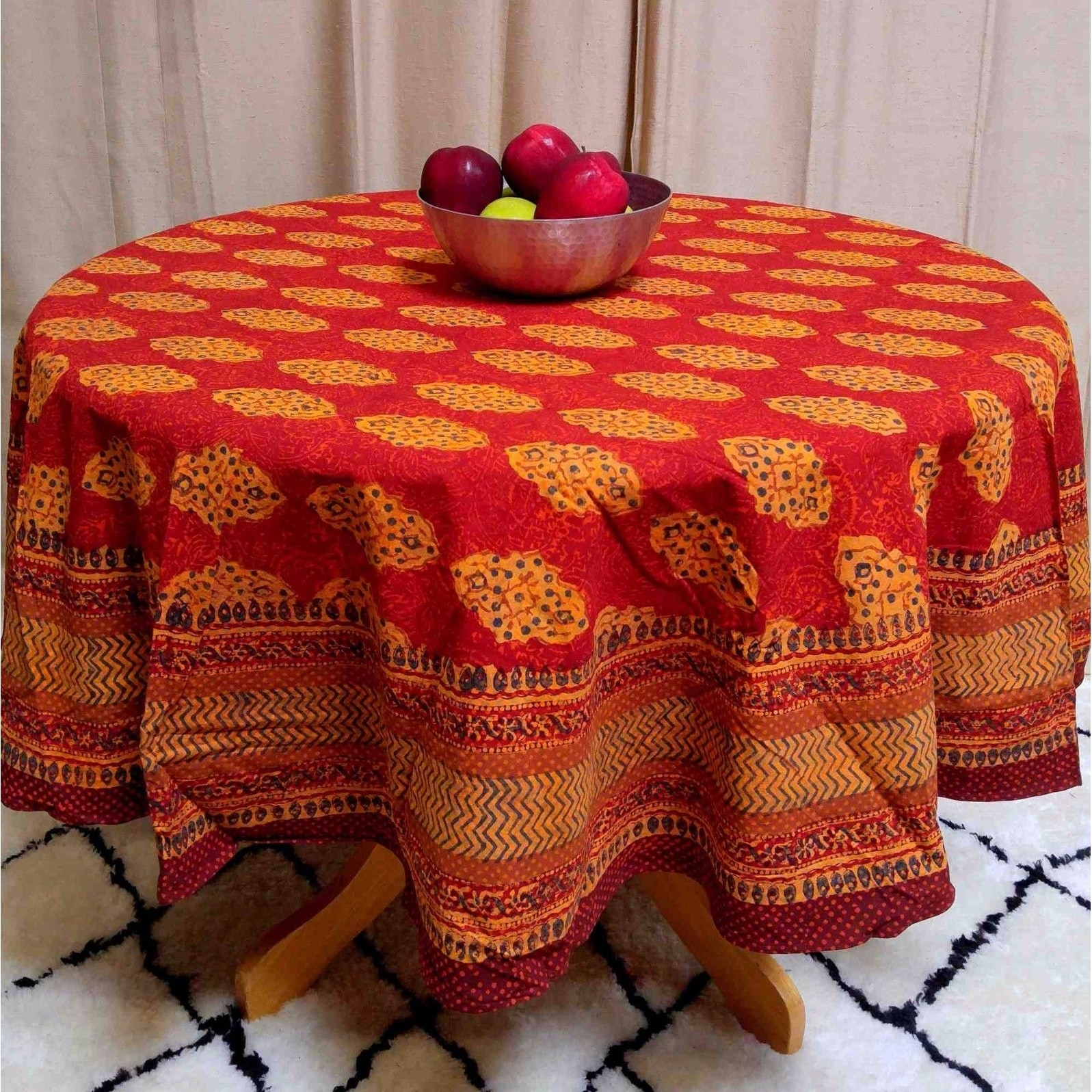 Cotton Kensington Block Print Tablecloth Rectangular Square Round Rust Brown - Thumbnail 5