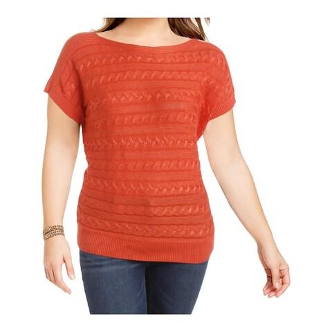 Lauren Ralph Lauren Womens Pullover Sweater Cable Knit Dolman Sleeves Orange XL