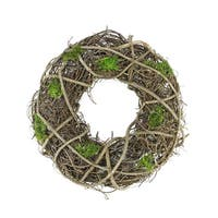"""13"""" Green Moss and Twig Artificial Spring Floral Wreath"""