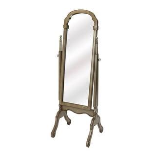 Offex Traditional Rectangular Silver Satin Cheval Mirror - Gray - Grey