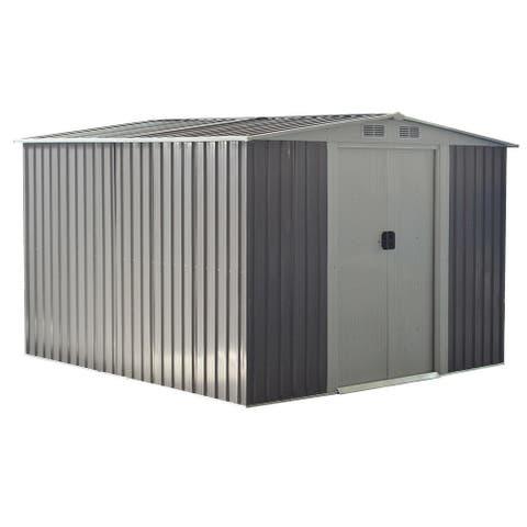 Costway 8.5x8.5FT Outdoor Garden Storage Shed Tool House Sliding Door Galvanized Steel Gray