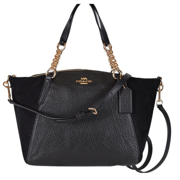 47e8e710b883 Coach Women  x27 s F31410 Small Black Leather Suede Kelsey Crossbody Handbag