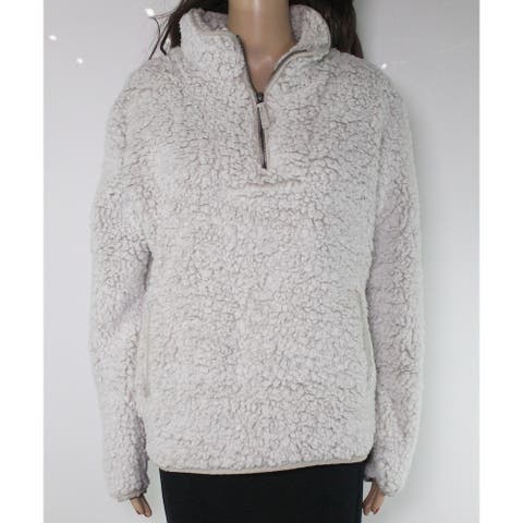 Thread & Supply Women's Fleece Jacket White Ivory Size Small S 1/4 Zip