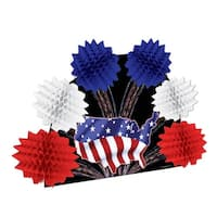 Club Pack of 12 Patriotic Red, White and Blue Pop-Over Tissue Centerpiece Party Decorations 10""