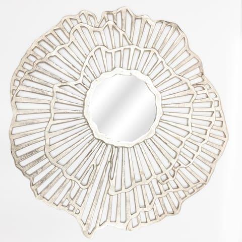 """Pansie 29"""" Round Silver Burst Wall Mirror - 29""""Rnd x 1""""D"""