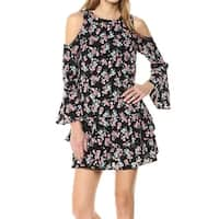 Kensie Black Women's Size Medium M Shift Tiered Cold-Shoulder Dress