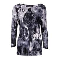INC International Concepts Women's Ikat Print Knit Top