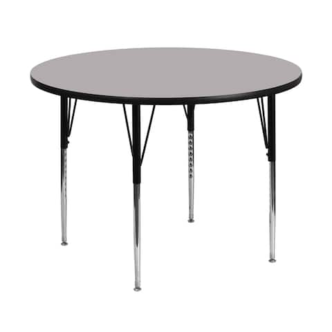Offex 48'' Round Activity Table with Grey Thermal Fused Laminate Top and Standard Height Adjustable Legs - N/A