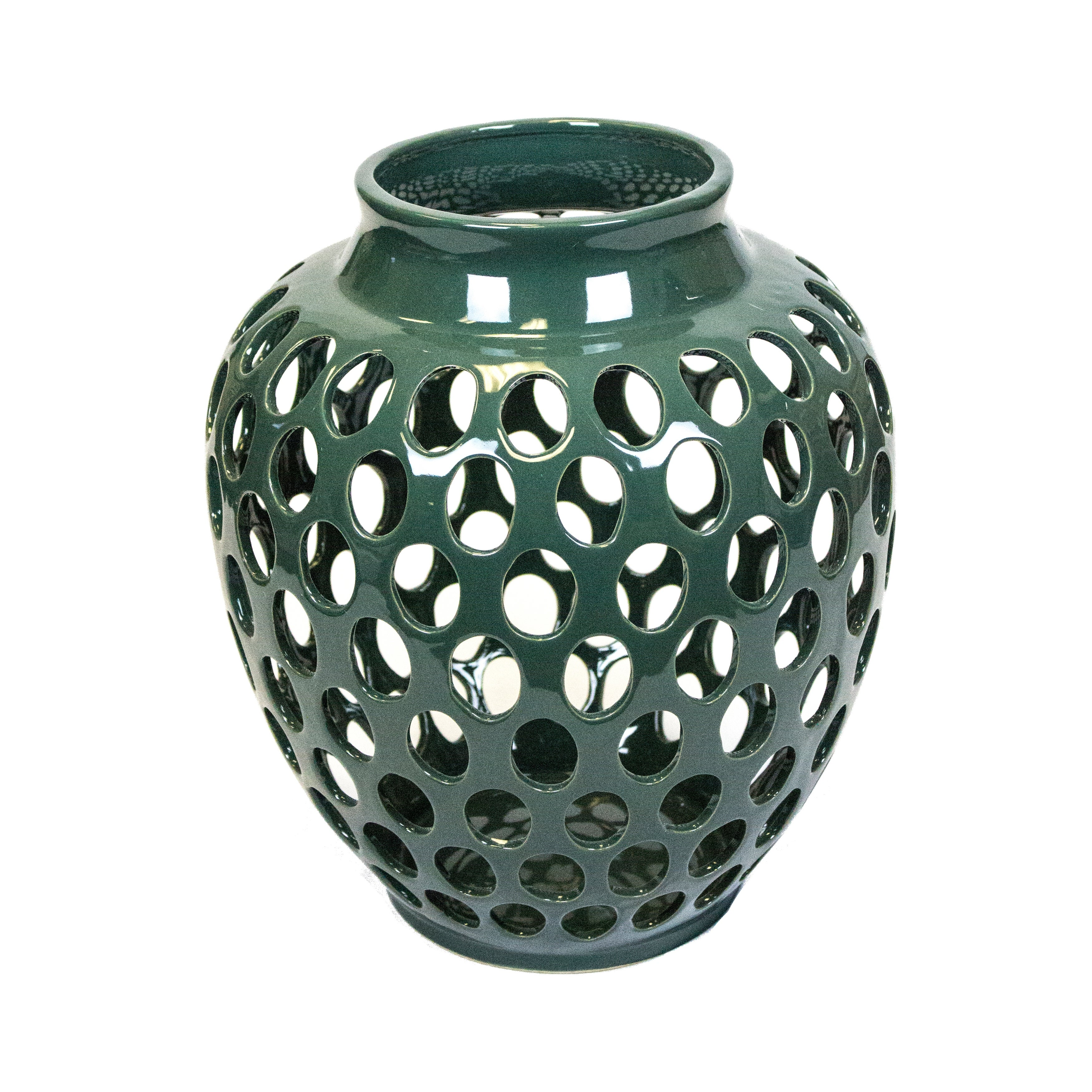 Decorative Urn Shape Ceramic Vase with Round Cutout Details, Green