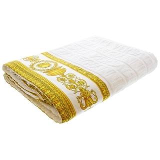 Gianni Versace Unisex Large Throw Bath Beach Towel Medusa Head Barocco Detail White