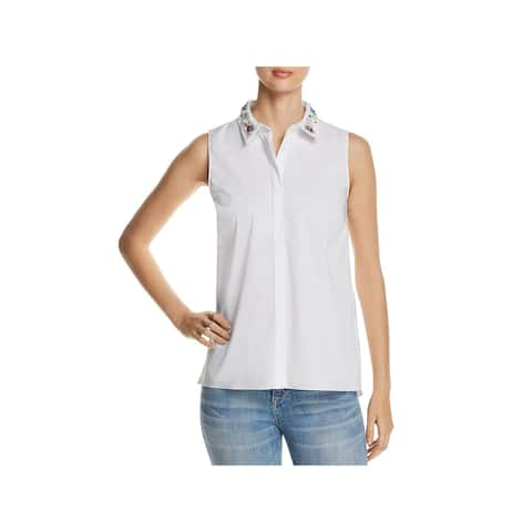 T Tahari Womens Wynne Blouse Silk Collar Embellished
