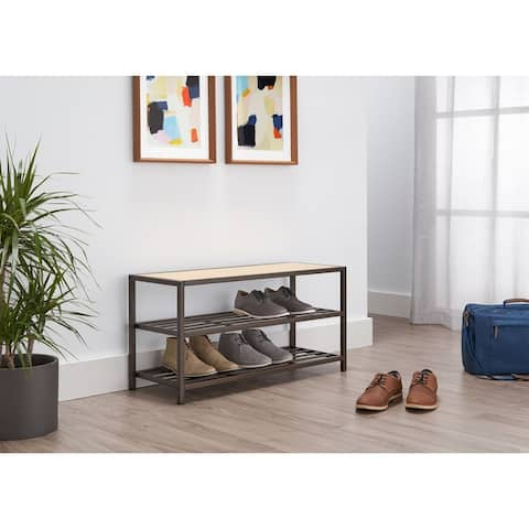 TRINITY 3-Tier 36x13x18 Shoe Bench Bronze Anthracite