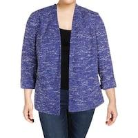 Kasper Womens Plus Tweed Jacket Work Wear 3/4 Sleeve
