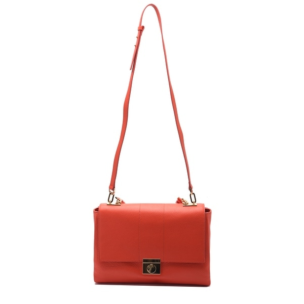 Versace Collections Women Pebbled Leather Top Handle Shoulder Handbag Red - M