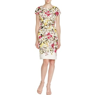 Adrianna Papell Womens Wear to Work Dress Cotton Mixed Media