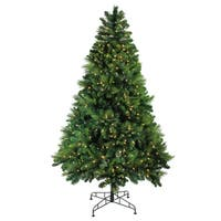 7.5' Pre-Lit Sequoia Mixed Pine Artificial Christmas Tree - Warm White LED Lights - green