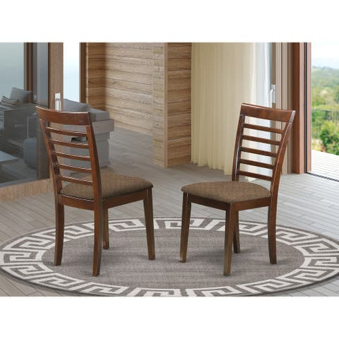 Milan Modern Mahogany Finish Kitchen Chair with Ladder Back Style (Set of 2)