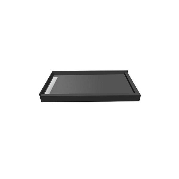 "Tile Redi WF4272LDR-PVC 42"" x 72"" Corner Tileable Shower Pan with Left WonderFall Trench Drain - Black"
