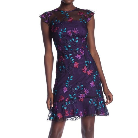 Donna Morgan Black Womens Size 6 Floral Embroidered A-Line Dress