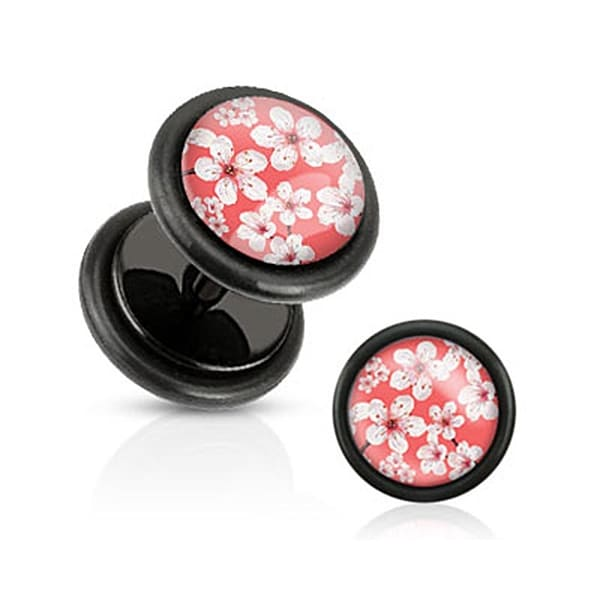 Pink Inlay w/ Cherry Blossoms Black Acrylic Fake Plug with O-Rings (Sold Individually)