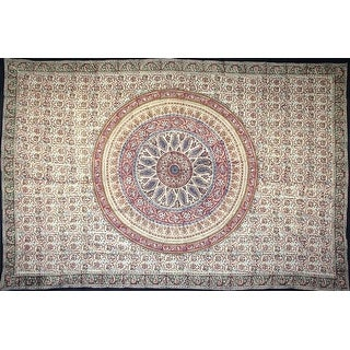 Handmade Kalamkari Tapestry Throw Coverlet Bedspread 100% Cotton Full Queen Red Green