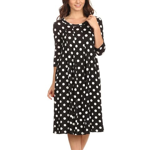 Women's Polka Dot Loose Fit A-Line Midi Dress