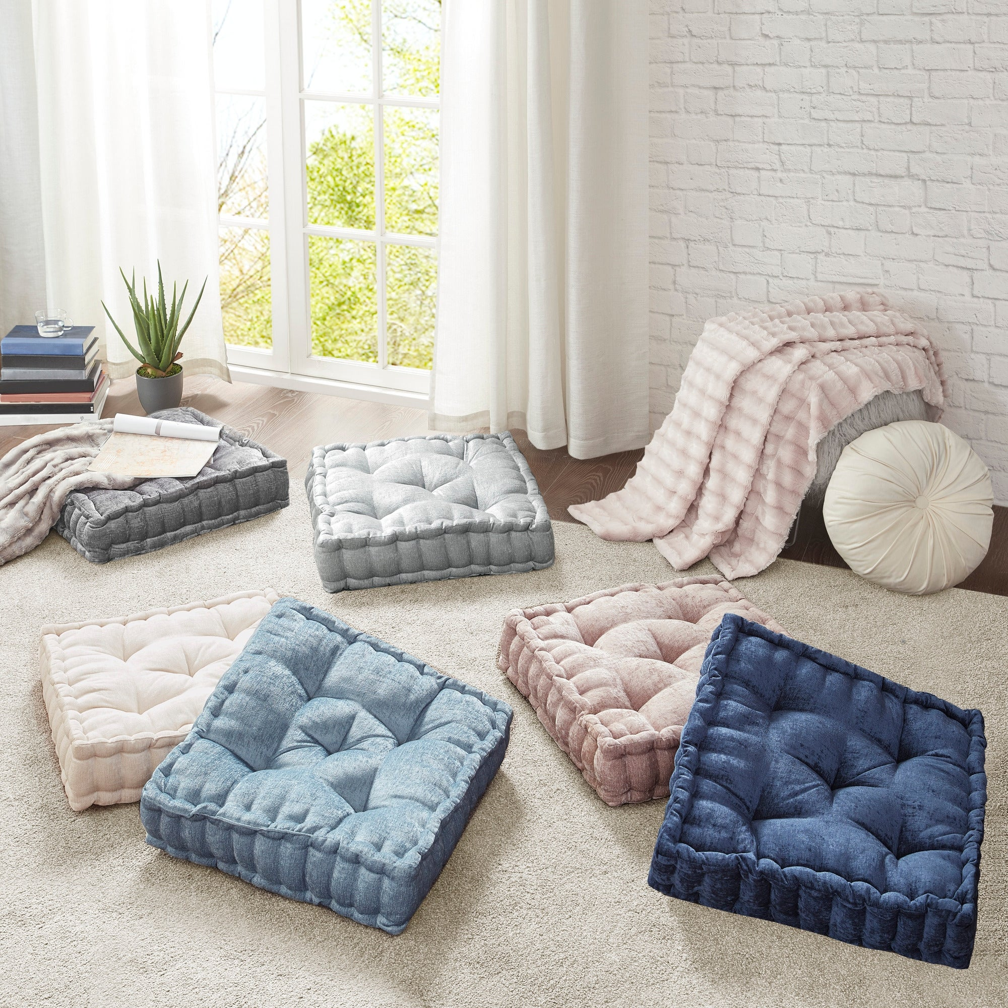 Intelligent Designs Charvi Poly Chenille Square Floor Pillow Cushion On Sale Overstock 21596131