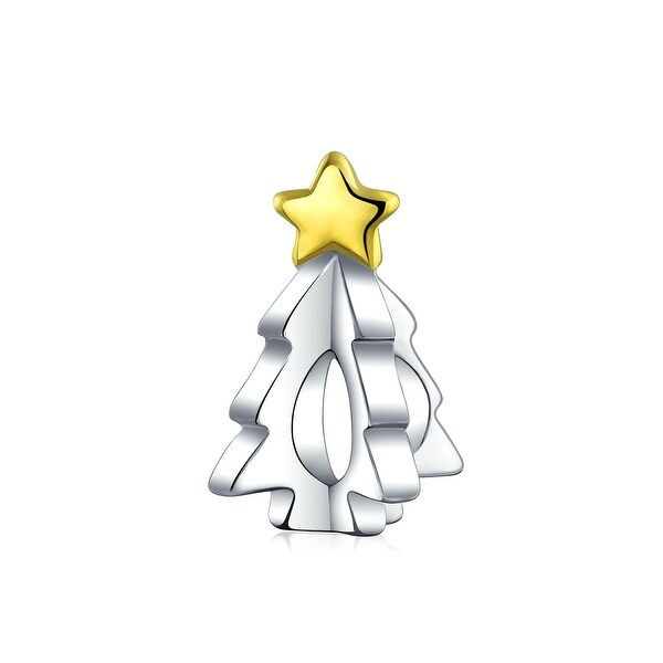 Tree Festive Star Charm Bead 2 Tone Gold Plated Sterling Silver. Opens flyout.