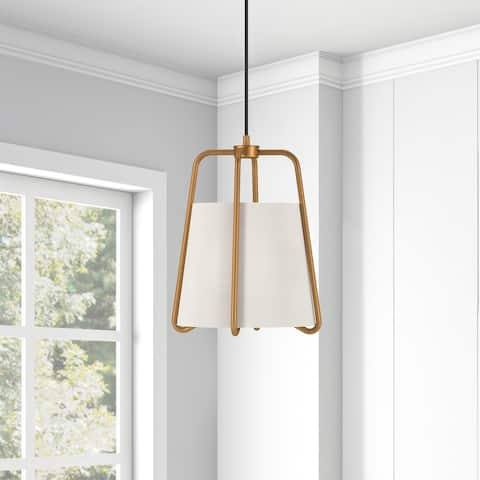Marduk Contemporary Antique Pendant with White Linen Shade