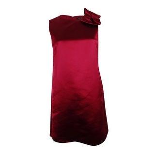 Tahari ASL Women's Petite Bow Satin Dress (2P, Garnet) - Garnet - 2p