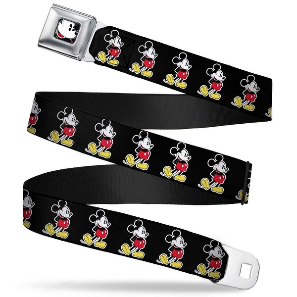 Classic Mickey Mouse Face Close Up Full Color Classic Mickey Mouse Pose Seatbelt Belt