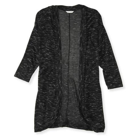 Aeropostale Womens Sheer Marled Shrug Sweater, black, Small