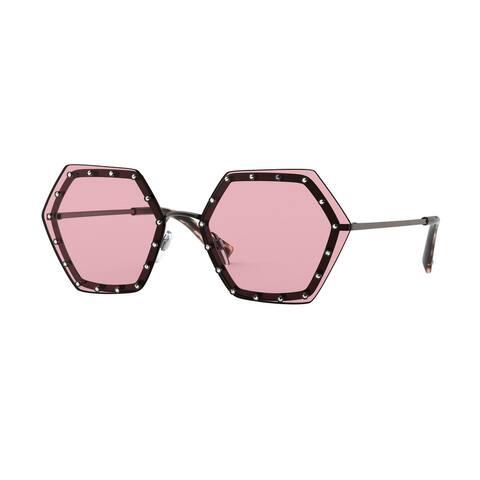 Valentino VA2035 303984 62 Rutenium Woman Irregular Sunglasses - Grey