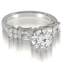 1.75 cttw. 14K White Gold Round and Baguette cut Diamond Engagement Ring