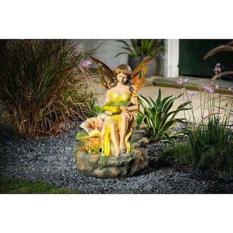 Resin Fairy Garden Outdoor Fountain with LED Light